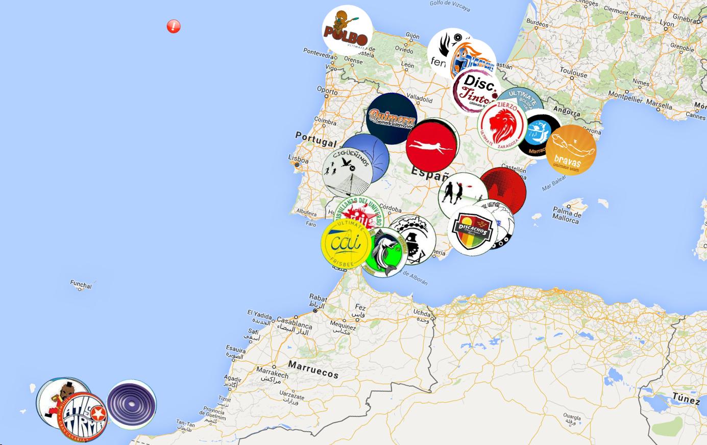 Mapa de equipos españoles de Ultimate Frisbee